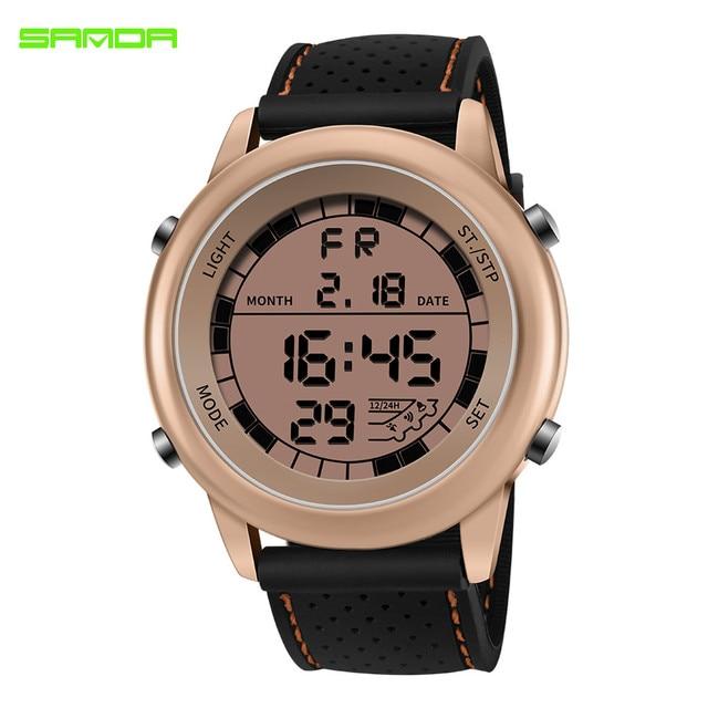 eae992976230 SANDA de lujo LED Digital Wristatches grande para hombre Dial G estilo  militar relojes deporte impermeable