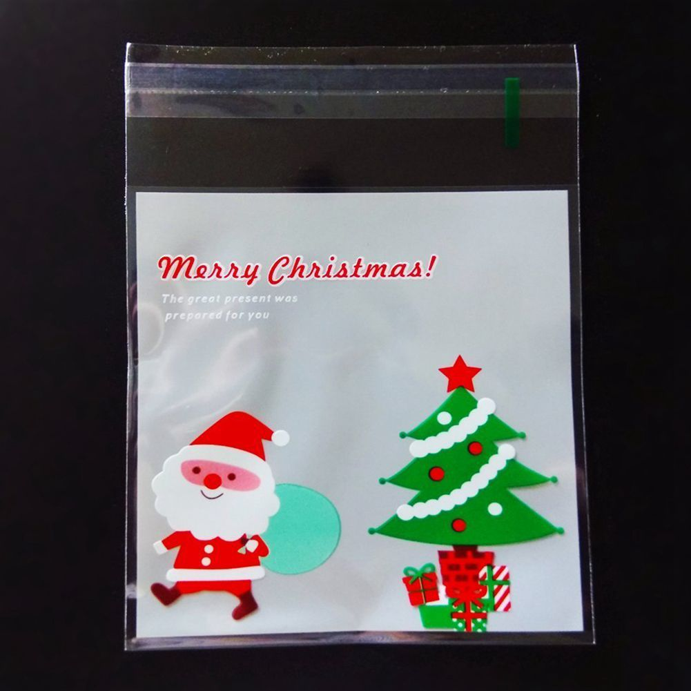 100 Pcs Sachets Pouches Santa And Christmas Tree Packing Bag For Cookies Biscuits Candy-HOT