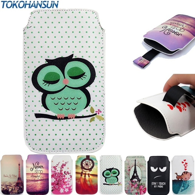 TOKOHANSUN Case Cover For Essential Products PH-1 Portable Pull Tab PU Leather Pouch Bag Cartoon Painting