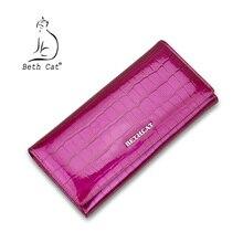 Бет Cat Натуральная кожа модные женские туфли Длинные кошельки дизайнерский бренд клатч кошелек леди бумажник Роза Цвет кошелек