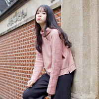In the winter of 2019 new Japanese art RETRO semi turtleneck sweater hedging short pink sweater