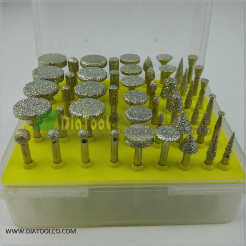 50pcs/set mini brazed diamond burrs for stone, Diamond grinding head, engraving bits, single blister [randomtext category=