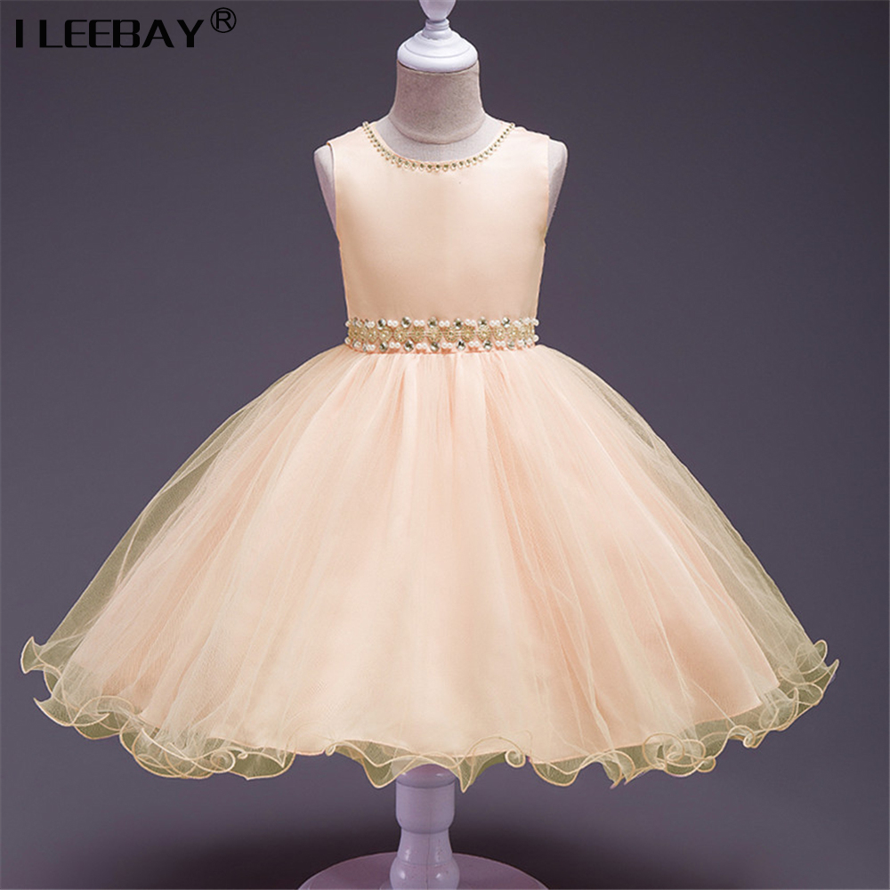 Cute baby girls evening dress kids sequins lace princess for Toddler dress for wedding