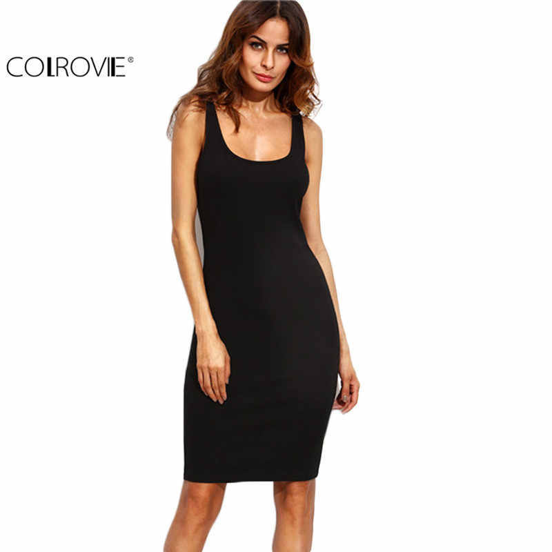b0f177fac811 COLROVIE Black Ladies Summer Style Fitness Women Sexy Bodycon Knee Length  Dresses Casual New Sleeveless Dress