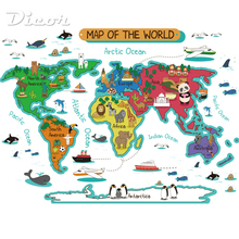 DICOR Brand Colorful World Map Big Wall Stickers Cartoon Cute Animals DIY Decal For Kids Rooms Self Adhesive PVC 2019 New