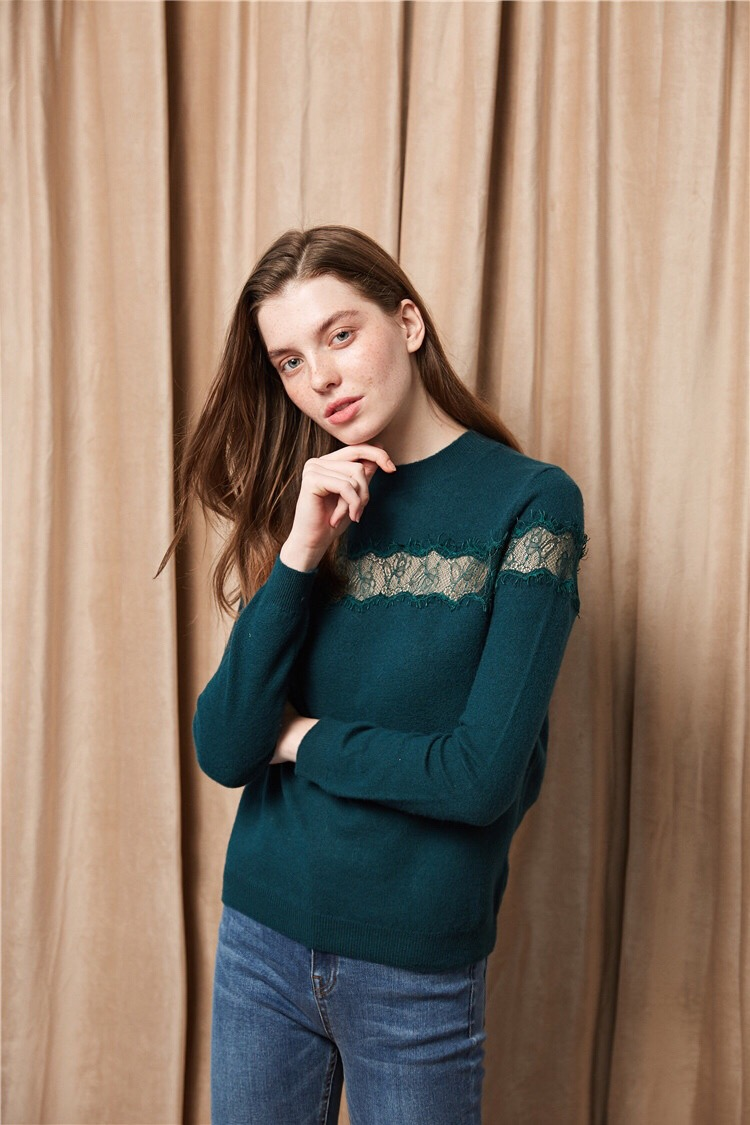 women fashion round neck lace hollow out pullover wool Sweaters