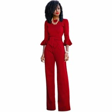 Red black Rompers Womens Jumpsuit Autumn Flare Sleeve Sashes Elegant Ladies Wide Leg Jumpsuits Party Overalls