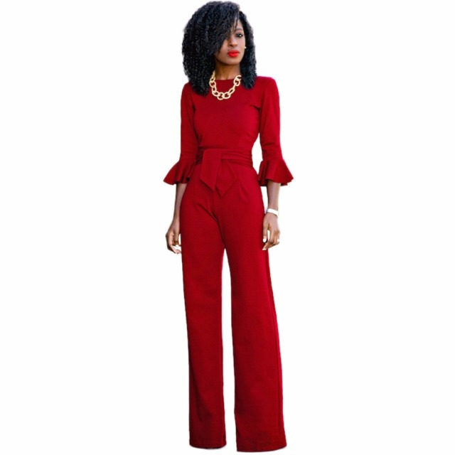 d4288cbc04d7 Red black Rompers Womens Jumpsuit Autumn Flare Sleeve Sashes Elegant Ladies  Wide Leg Jumpsuits Party Overalls Long Playsuits