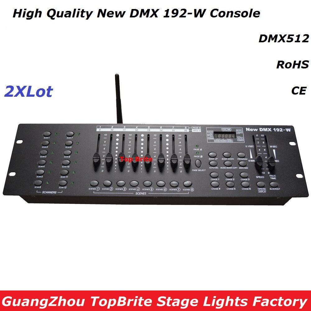 2 pcs lote novo 192 w console de dmx 2 4g sem fio dmx controlador para