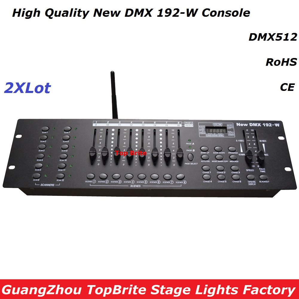 все цены на 2Pcs/Lot New 192-W DMX Console , 2.4G Wireless DMX Controller , For Stage Lighting DMX512 Console DJ Disco Controller Equipments