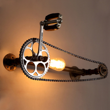 loft vintage creative water pipe wall lamp,restaurant bar bedroom E27 Edison light bulb wall light gear chain simple wall scone  недорого