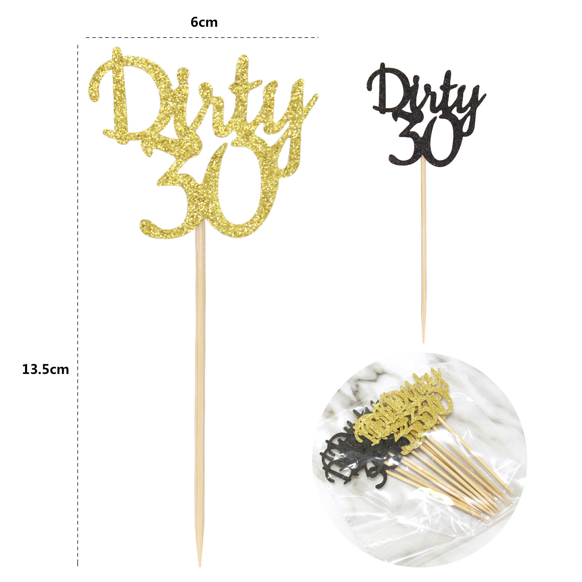 12pcs Gold and Black Glitter Dirty 30 Cupcake Toppers 30th Birthday Party  Favor Celebrating Anniversary Cake Picks Free Shipping| | - AliExpress