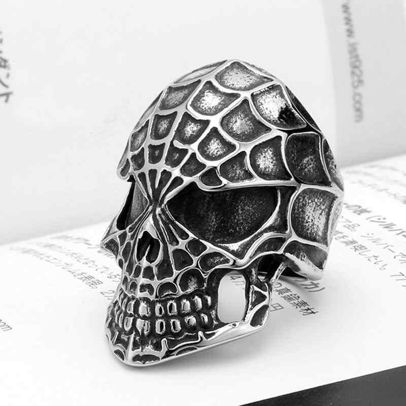 الرجال الفولاذ المقاوم للصدأ خاتم التنين الموضة القوطية الشرير الجمجمة رئيس السائق خواتم الاصبع مجوهرات حجم 8-10
