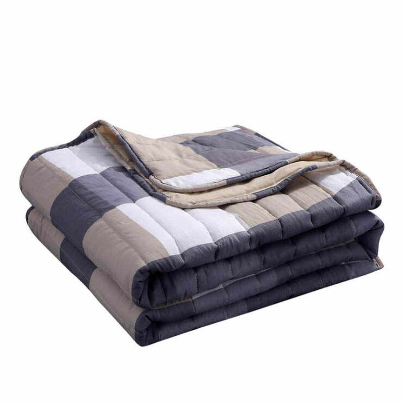 Winter Throw Quilt Soft Breathable Fleece Blanket for Bed Travel Airplane Stripe Bed Cover Bedspread