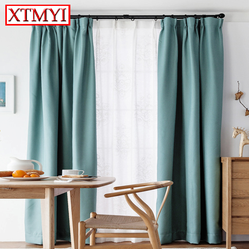 Europe Solid Colors Blackout Curtains For Bedroom Living Room Sky Blue Short Window Decoration
