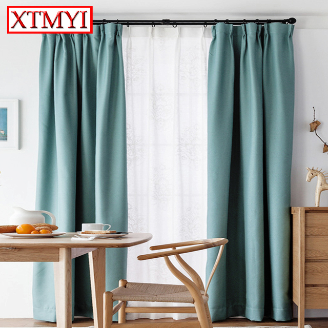 Europe Solid Colors Blackout Curtains For Bedroom Living Room Sky Blue Short  Window Decoration Curtains Drapes  Short Blackout Curtains