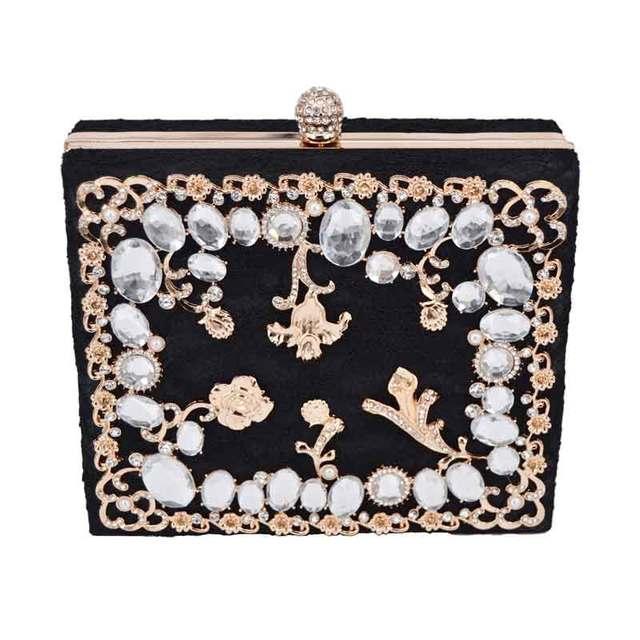 e8bf2863705 De moda rosa pálido encaje de lujo diamantes fiesta bolso noche bolso  embragues mujer bolsa de