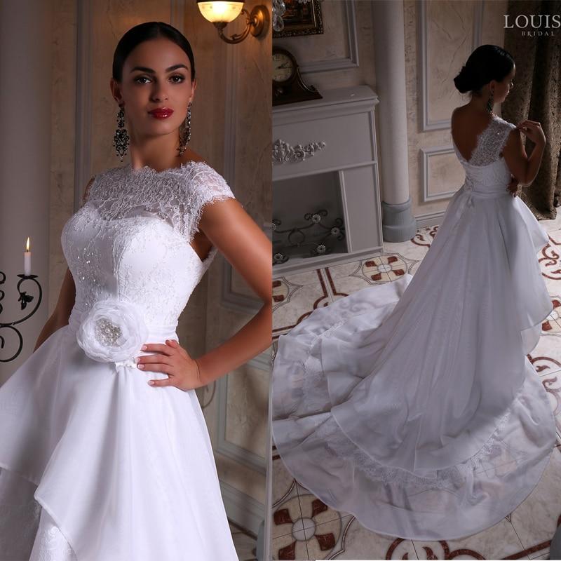 Unequal Lace Appliques Short Front Long Back Wedding Dress