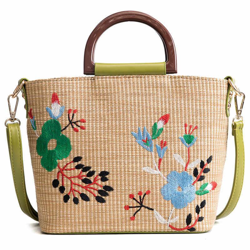 Sacos de Palha de verão para As Mulheres 2018 Luxo Flores Handmade Tecido bolsa de Praia Bolsa de Viagem Bolsas das Mulheres Bolsa Feminia