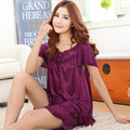 The new woman silk pajamas suit 2015 spring and summer women's lace embroidery and elegant design, home delivery