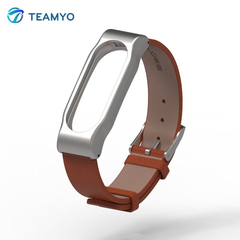Adjustable Xiaomi Mi Band 2 Leather Strap with Metal Frame for MiBand 2 Version Smart Bracelet