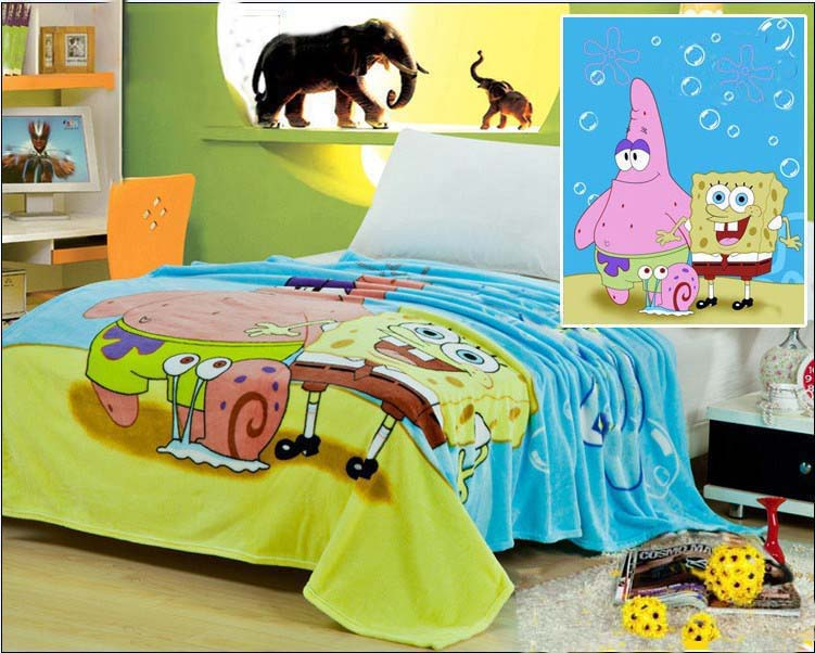 Free Shipping SpongeBob 100% Coral Fleece Blankets Cartoon Blanket on the Bed Microfiber Blankets Baby blanket children купить недорого в Москве