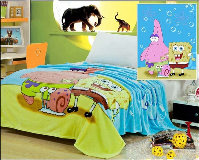 Free Shipping SpongeBob 100% Coral Fleece Blankets Cartoon Blanket on the Bed Microfiber Blankets Baby blanket children