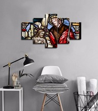 Large Christian Crosses Cross Landscape Wall Art Christ Posters Canvas Prints Home Decor 5 Panel Painting Artwork Framed
