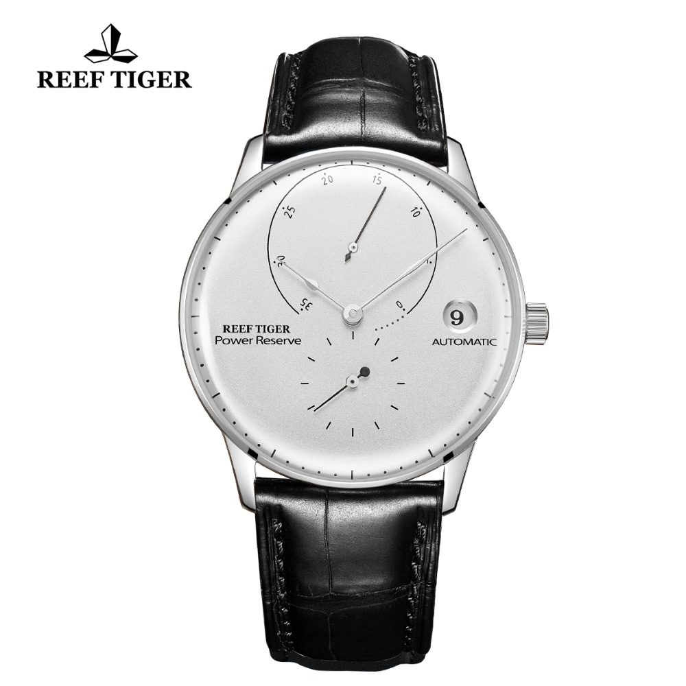 Reef Tiger/RT Fashion Casual Watches Mens Stainless Steel Automatic Watch White Dial Leather Strap Waterproof Watch RGA82B0-2Reef Tiger/RT Fashion Casual Watches Mens Stainless Steel Automatic Watch White Dial Leather Strap Waterproof Watch RGA82B0-2