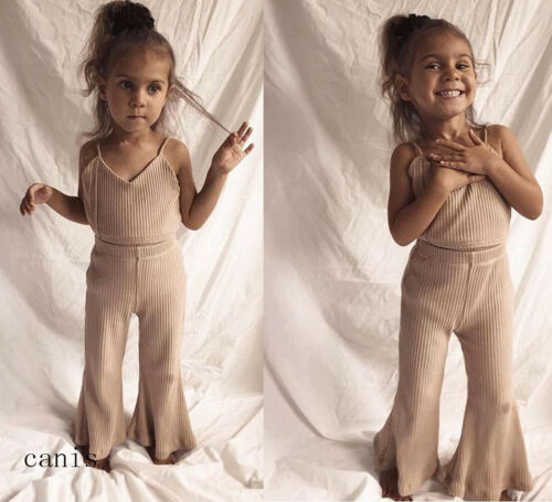 Newborn Baby Girls Sling Romper Sleeveless Top+Long Wid Leg Bell Bottoms Pants Outfits Clothes