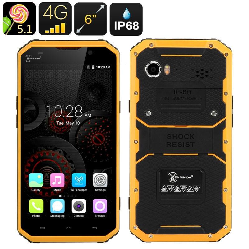 IP68 ultra thin Slim Waterproof phone Shockproof 4G LTE W9 MTK6753 8 Octa Core 6 phone