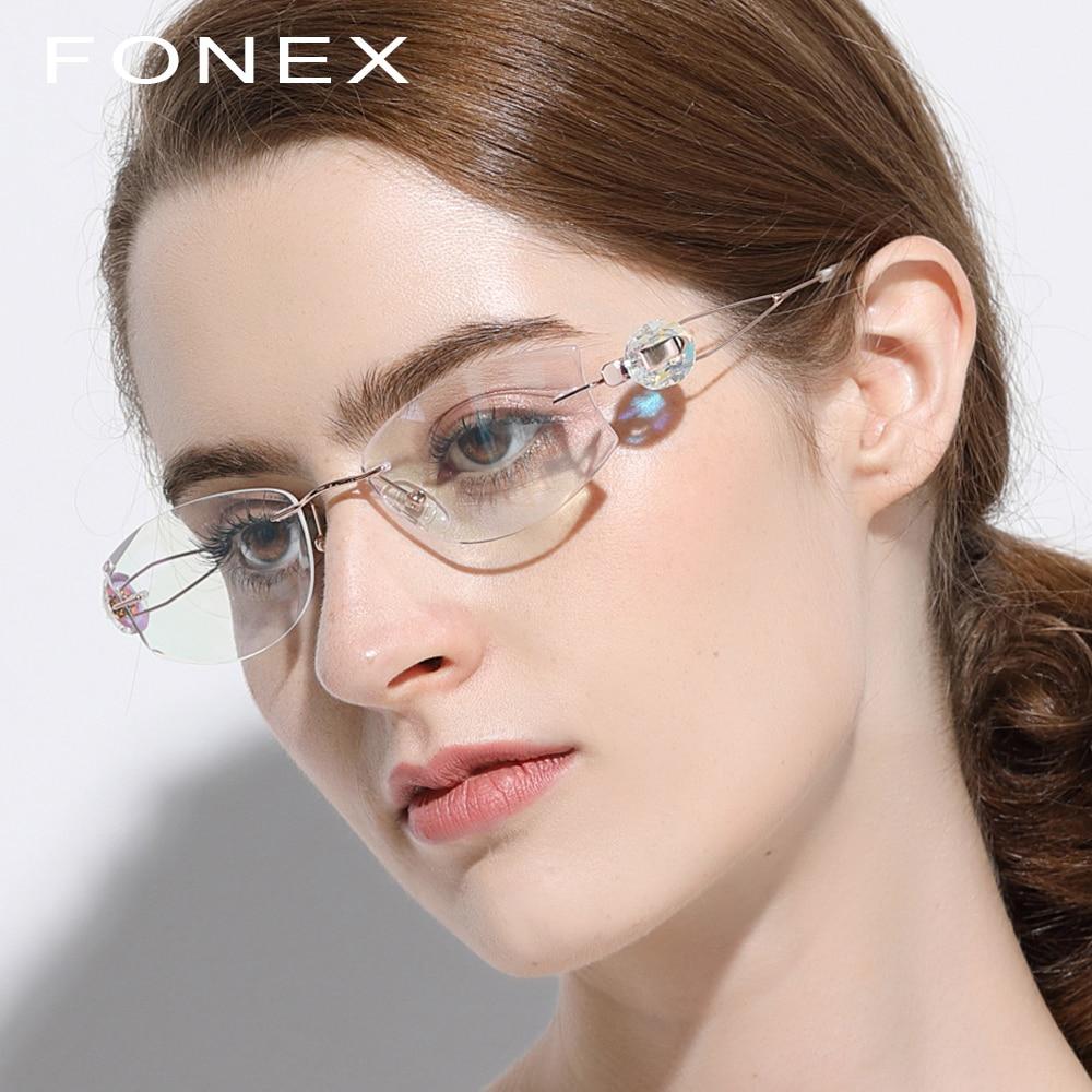 B Titanio Puro Occhiali Telaio Donne Ultralight di Lusso di Alta Qualità Finiture di Diamante Senza Montatura Da Vista Ottica Occhiali Da Vista Occhiali