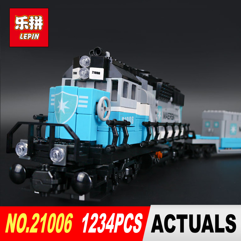 Lepin 21006 1234Pcs Genuine Technic Ultimate Series The Maersk Train Set Building Blocks Bricks Educational 10219 DIY Toy lepin 21006 compatible builder the maersk train 10219 building blocks policeman toys for children