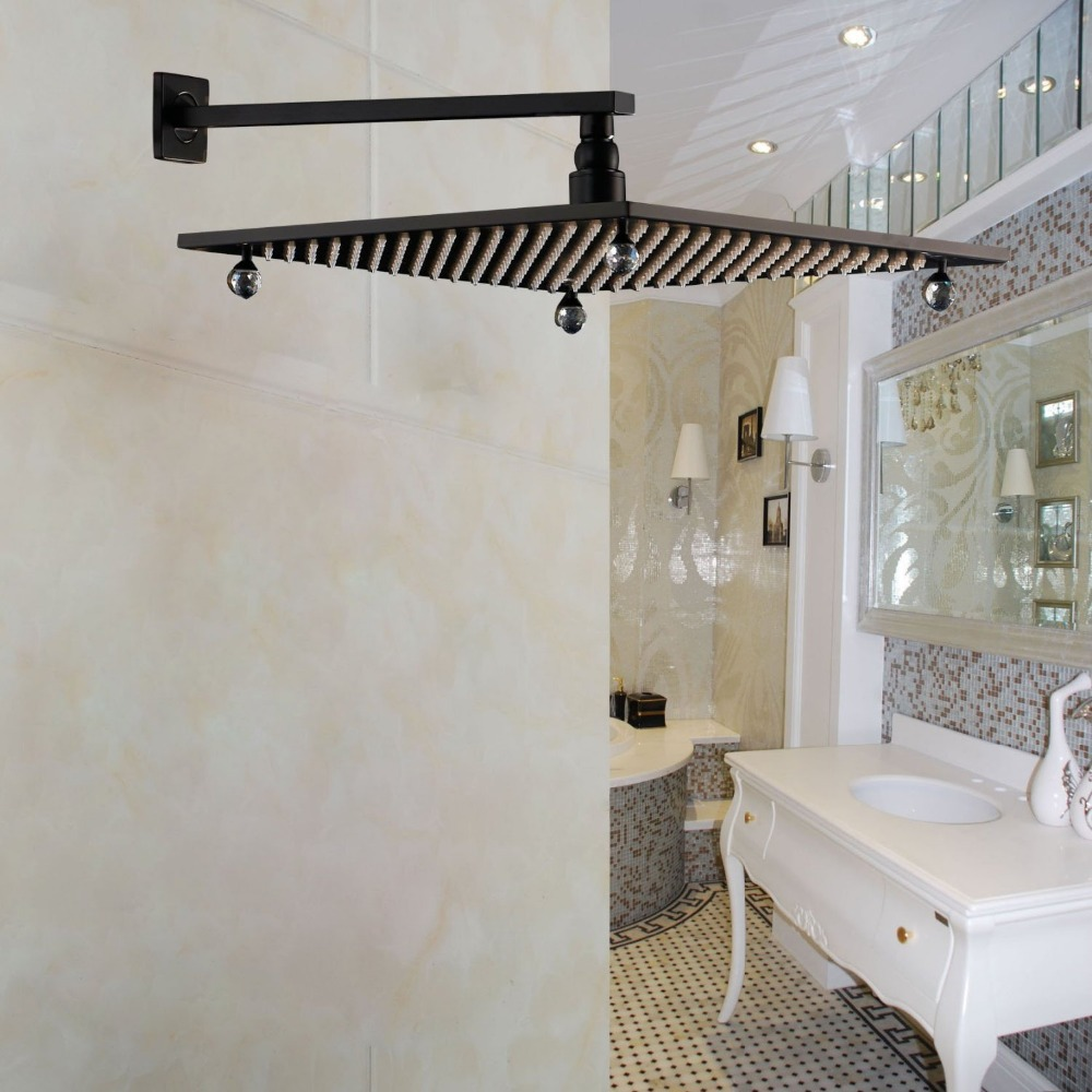 Wall Mount Shower Arm with 16 Top Shower Head Crystal Deco Oil Rubbed Bronze