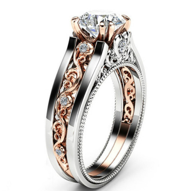 ROXI Vintage Rose Gold /Silver Color Ring CZ Flower Rings For Woman Gifts Wedding Engagement Statement Ring Size 6-10 Dropship