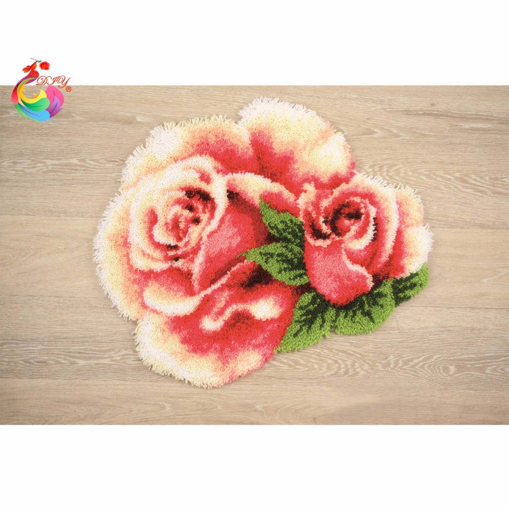 embroidery cushion kits Latch hook rug kits carpet kids Yarn for knitting cross stitch thread embroidery kit Flower crochet hook