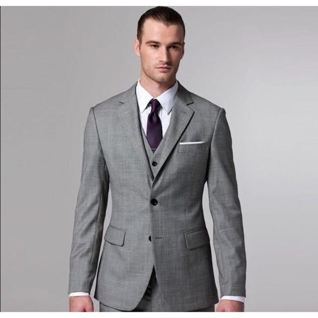 Por encargo elegante gris hombres traje chaquetas hombres moda Slim Mens  trajes de boda Formal para 766b5cb3a651