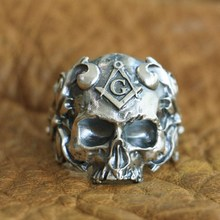 LINSION 925 Sterling Silver Masonic Skull Ring Mens Biker Punk TA116 US Size 7~16