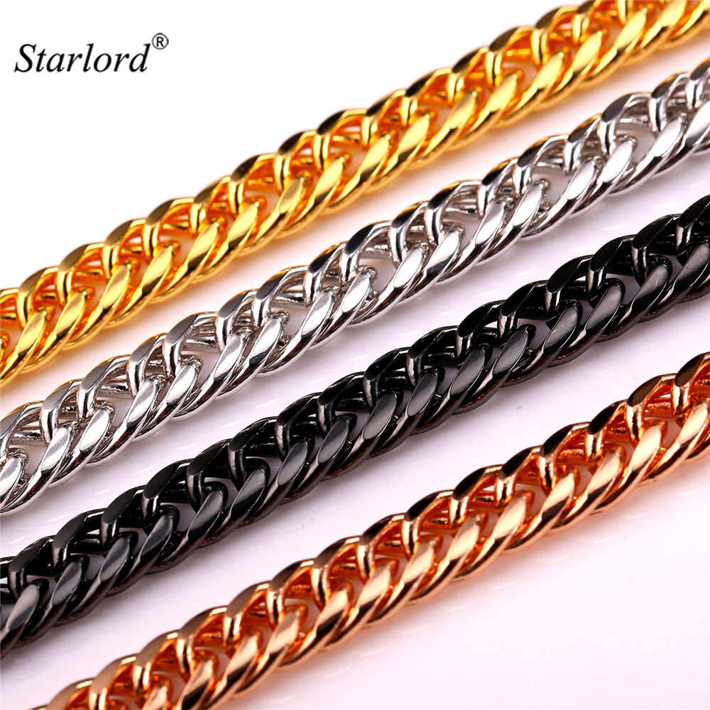 Starlord Classic Curb Cuban Link Chain Necklace Fashion 6MM Width 46CM+ Long White Gold Color Chain For Men Hip Hop Jewelry N843