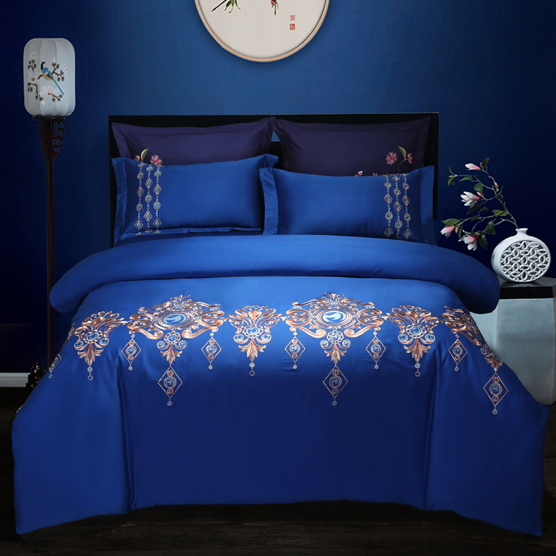 Oriental embroidery luxury king Beddings set queen size bed cover set blue green golden grey Duvet Cover Bedsheets linen set Oriental embroidery luxury king Beddings set queen size bed cover set blue green golden grey Duvet Cover Bedsheets linen set