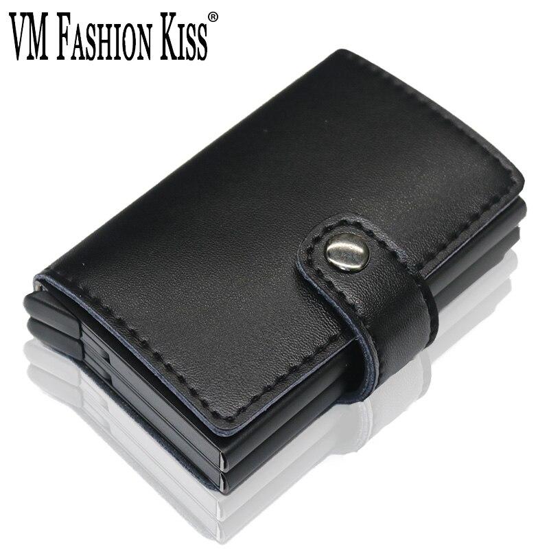 VM mode baiser RFID portefeuille porte-carte en cuir véritable Mini coffre-fort en aluminium boîte antimagnétique carte de crédit portefeuille minimaliste