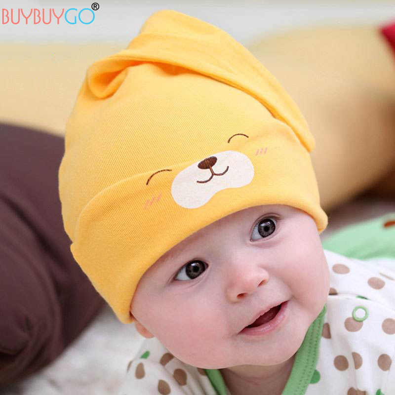 SALE 1 Piece Baby Hats Cute Comfort Cartoon Spring Autumn Baby Beanie Hat Toddler Cotton Sleep Cap Newborn Infant Soft Caps