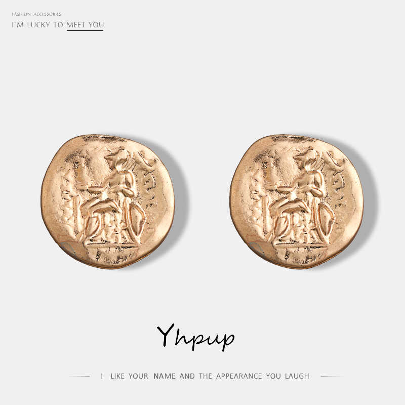 Yhpup Minimalist Retro Antique Coin Geometric Stud Earrings Zinc Alloy Simple Design Punk Earrings For Women Party Jewelry Gift
