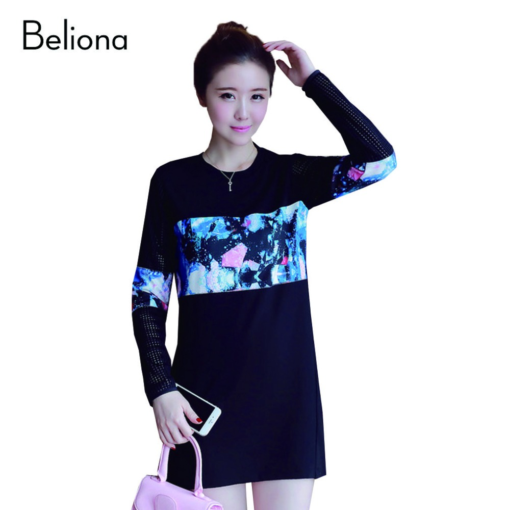 Fashion Sky Printing Hollow Maternity Dress Fall Winter Dresses for Pregnant Women Plus Size Loose Casual Pregnancy Clothes