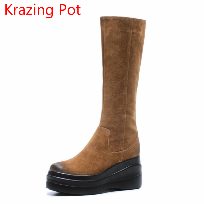 2018 Genuine Leather Zipper Winter Boots Round Toe Platform Motorcycle Boots Elegant Increased Mid-calf Boots for Women L6f2 superstar cow suede tassel leather boots platform zipper med heels rivets snow boots round toe mid calf boots for women l2f7