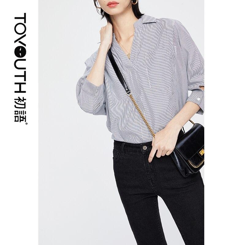 Toyouth Women Striped   Blouse     Shirt   Long Sleeve   Blouse   V-neck   Shirts   Casual Tops   Blouse   et Chemisier Femme Blusas Mujer de Moda