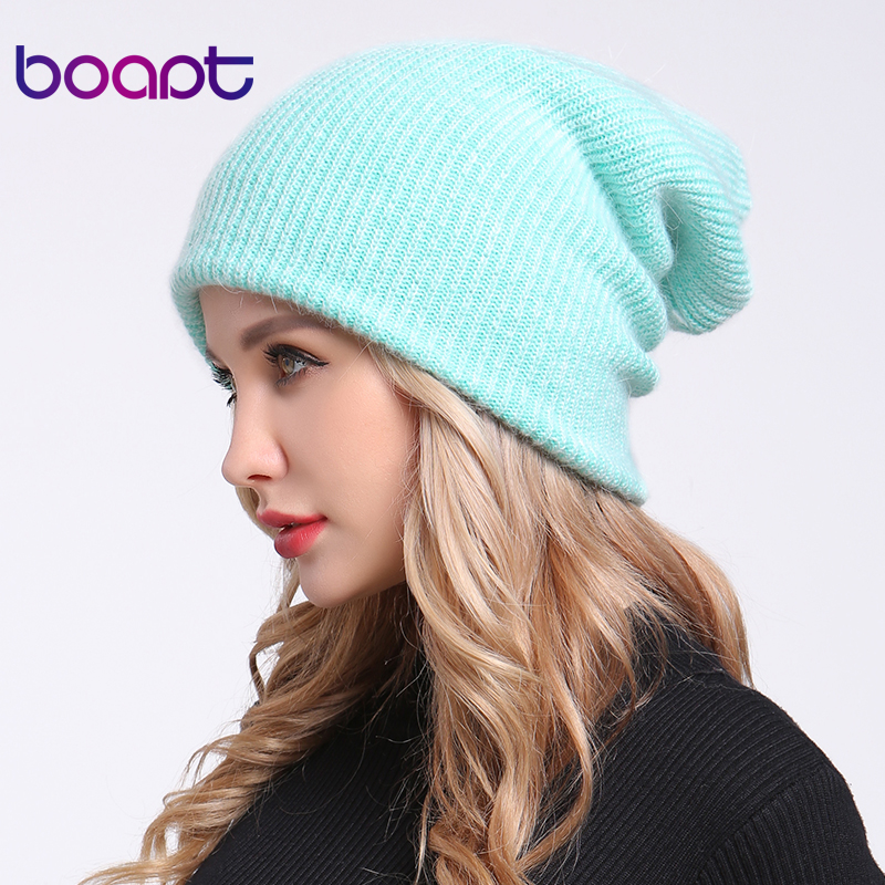 [boapt] double-deck soft rabbit knitting thick bonnet warm caps solid winter hats for women's hat skullies beanies female cap