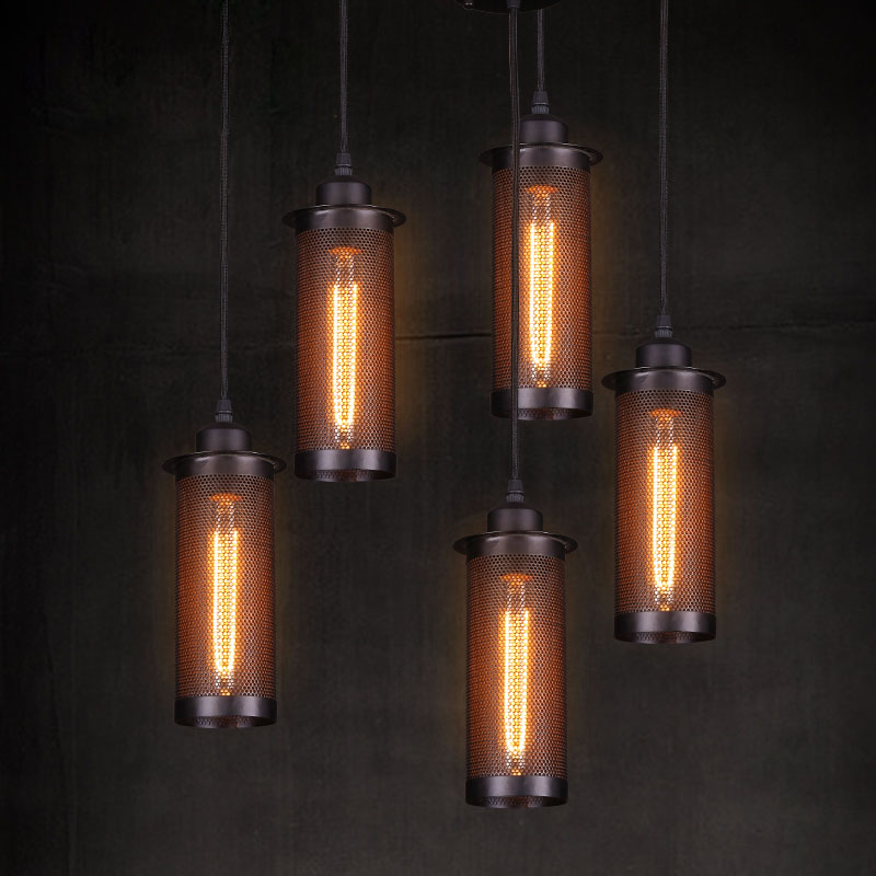 Freeshipping Industry Retro Single Head Bar Pendant Lights Vintage Cafe Pendany Lamps Metal Net Creative Pendant Light classical chinese food industry restaurant bar cafe original wood single head pendant lights rmy 0247