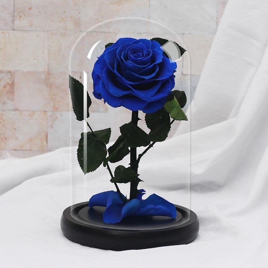 Подарки ко дню Святого Валентина красота и чудовище роза цветок в стеклянном куполе Рождество для украшения стола вечные цветы - Цвет: blue