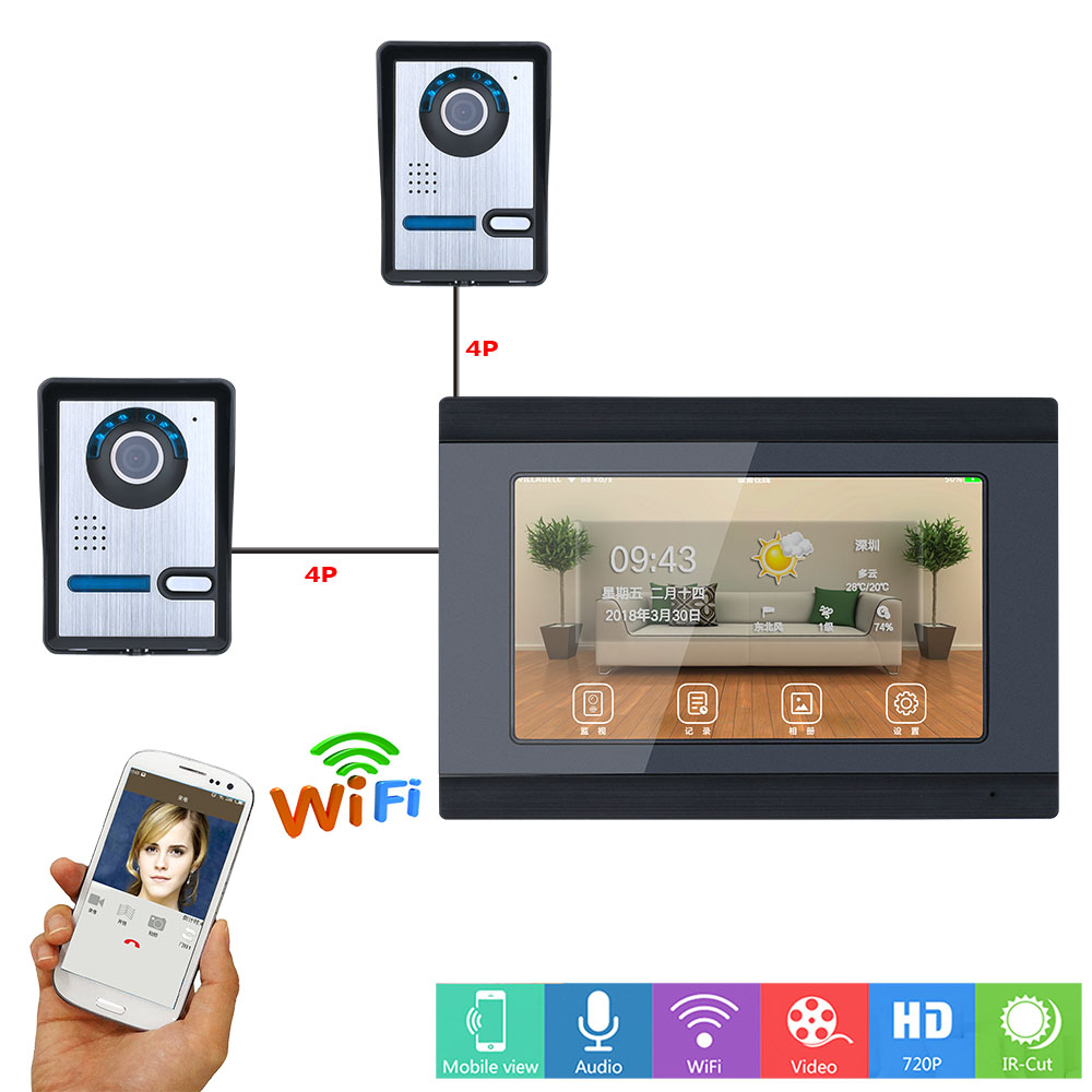 MAOTEWANG 7inch Wired Wifi Video Door Phone Doorbell Intercom Entry System With 2xHD IR-CUT 1000TVL Wired Camera Night Vision